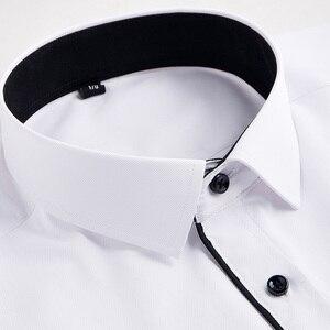 Image 4 - Camisa para hombre de talla grande 6XL, 5XL, 4XL, 3XL, moda de ocio, camisas de vestir de retales lisas, camisas de negocios de sarga para boda Social