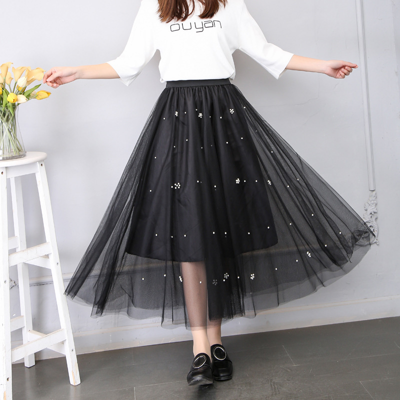 New 2017 Summer Women Long Skirts Sweet Pearl Stud Mesh Layered Elastic Waist Candy Girl Beading A-line Ankle Long Gauze Skirts