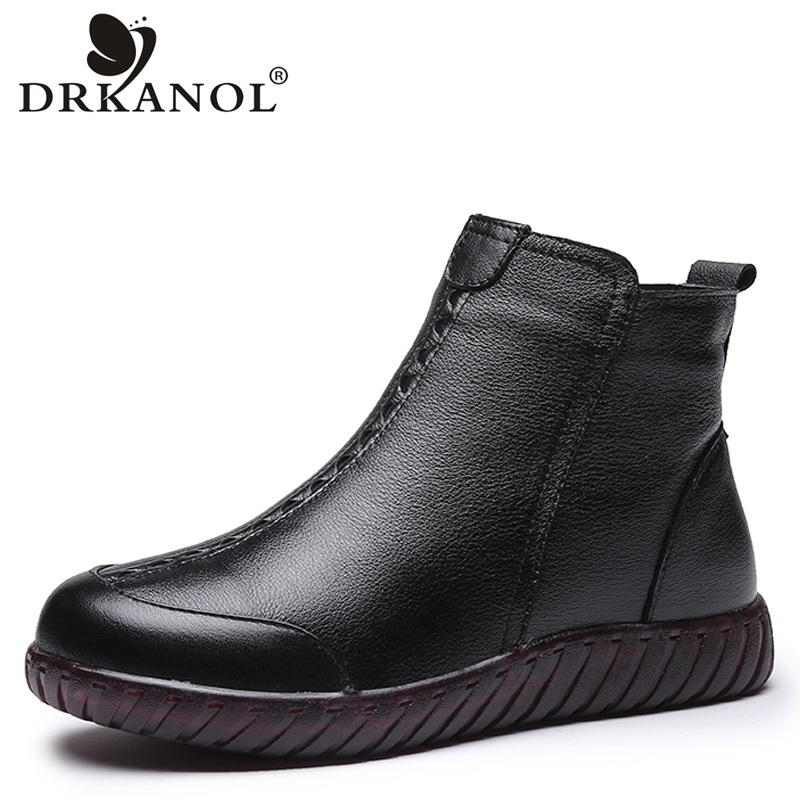 DRKANOL 2018 Big Size 35-41 Thick Plush Women Snow Boots Winter Warm Flat Shoes Comfortable Genuine Leather Ankle Boots Female new 2015 original warm snow boots women plush winter ankle boots comfortable lady flame design casual australia flat shoes