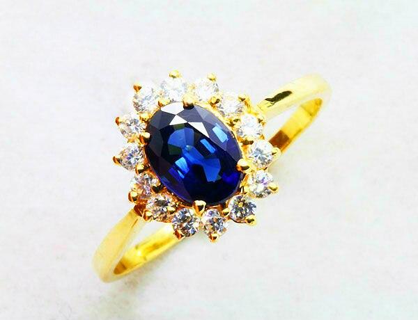Echte 18 Karat Gelbgold Ring natürlichen Saphir Edelstein edlen - Edlen Schmuck - Foto 2