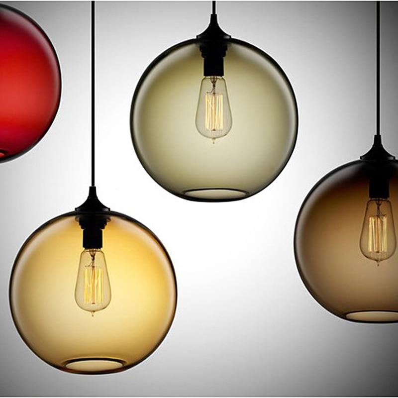 цена на Retro Vintage Pendant Lights Colours Glass Lampshade Loft Pendant Lamps E27 110V 220V for Dinning Room Home Decoration Lighting