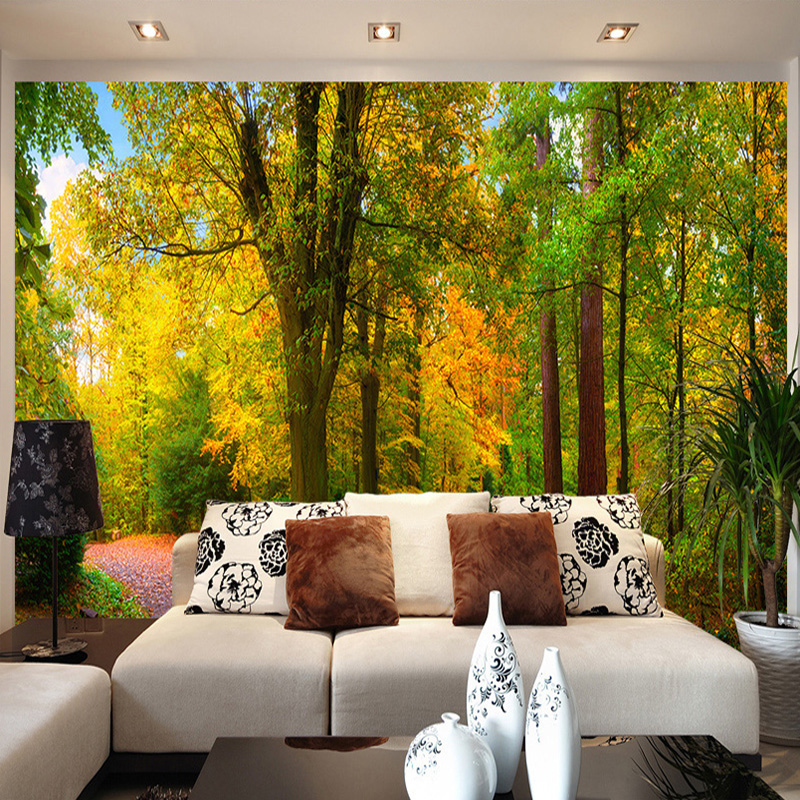 Custom Mural Wallpaper Green Forest Nature Scenery Wall Painting ...