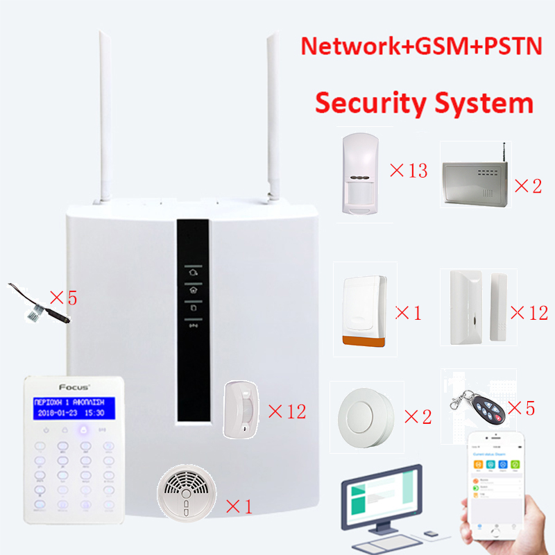 Focus FC-7688 Plus Home Alarm System Burglarproof Support GSM+PSTN+LAN Alarm Security APP Web Connected Security Alarm System