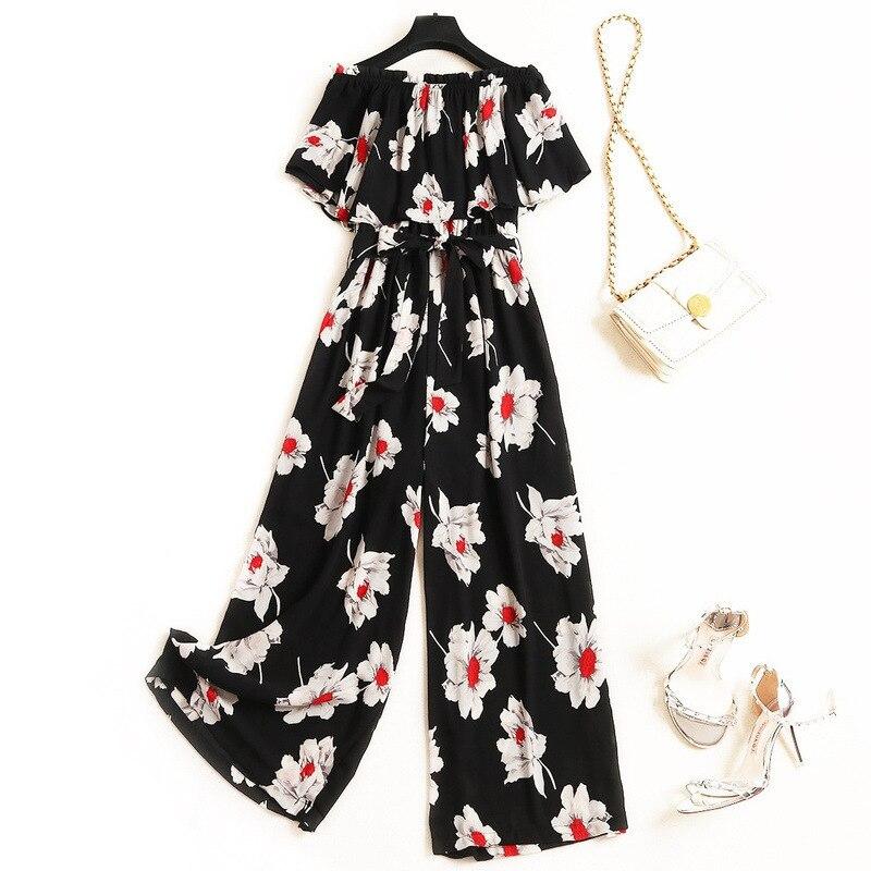 Eté imprimé Floral noir mousseline de soie femmes barboteuses et combinaisons 2019 mode Nova femme grande taille Slash cou ceintures combinaisons