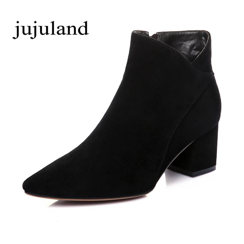 Women Shoes Ankle Martin Boots Chelsea Boots Genuine Leather Flock Nubuck Zip Zipper Pointed Toe Big Size Short Plush Med Heel туфли balex туфли