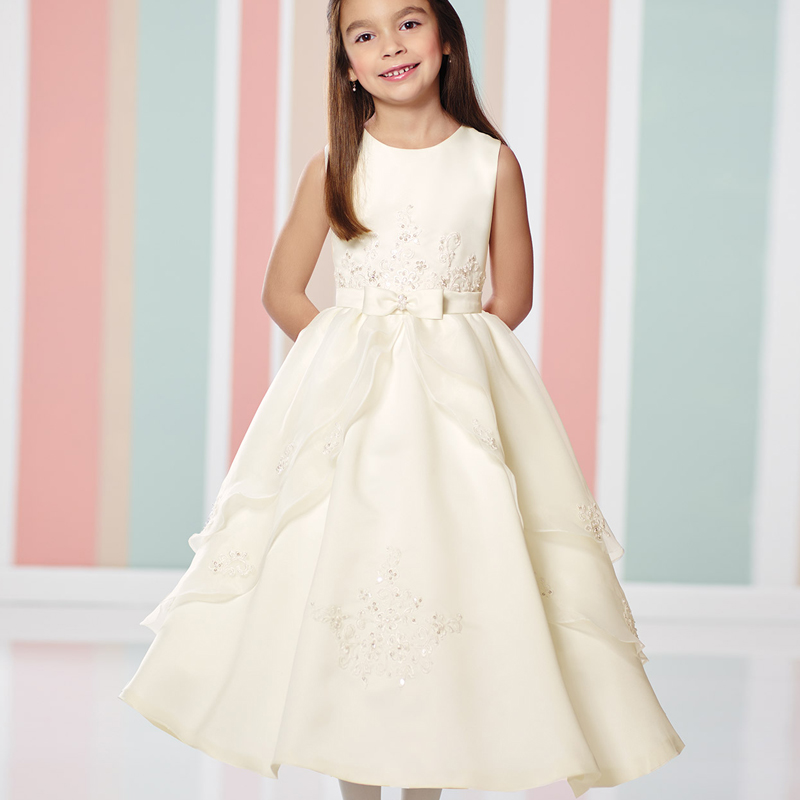 New Beading Lace Appliques Flower Girls Wedding Gowns with Bowknot Sash Ankel Length A-Line Elagant Girl First Communion Dresses blue pageant dresses for little girls a line spaghetti straps solid appliques crystal lace up flower girl first communion gowns