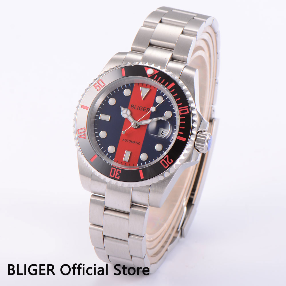 Sapphire BLIGER 40mm Blue Red Dial Black Ceramic Bezel Luminous Marks Stainless Steel Case Automatic Movement Men's Watch D16 bliger black ceramic bezel luminous hand stainless steel case 40mm black