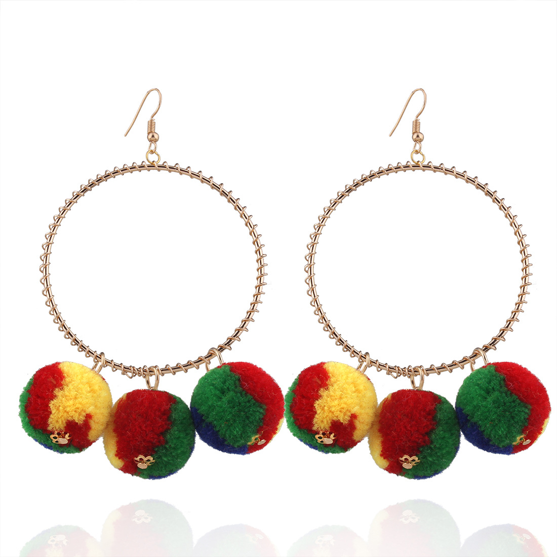 K's Gadgets Bohemian Big Earrings Drop Earrings Faux Fur Plush Ball Long  Pin Dangle Earrings For