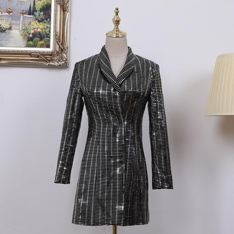 Manteau Longue Printemps Femmes Mince Lxunyi Col Nouveau Pour Veste À Lourd Blazer Longues Luxe Dames Costume Silver Blazers Bureau Gray 2019 Sequin Manches Hqzqw5A