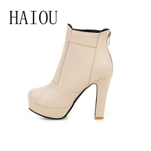 Womens Faux Leather Comfortable Ankle Boots Platform High Heel Booties for Women Fashion Buckle Winter Dress