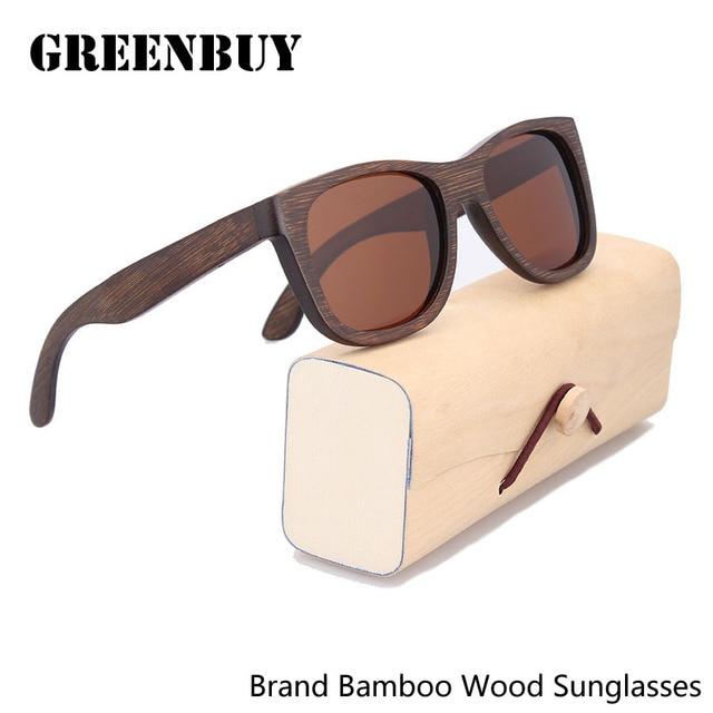 Brown Bamboo Sunglasses Male Oculos de sol Custom Logo Brand Men Sunglasses Case with Clean Cloth Pouch Glasses Men