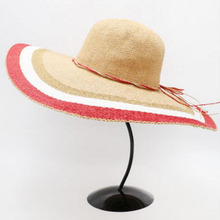 10pcs Designer Ladies Floppy Striped Wide Brim Straw Hats Trendy Women Big Summer Paper Straw Beach