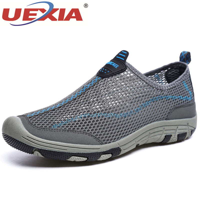UEXIA New Brand Casual Shoes Mens Breathable Lightweight Fashion Summer Mesh Walking Zap ...