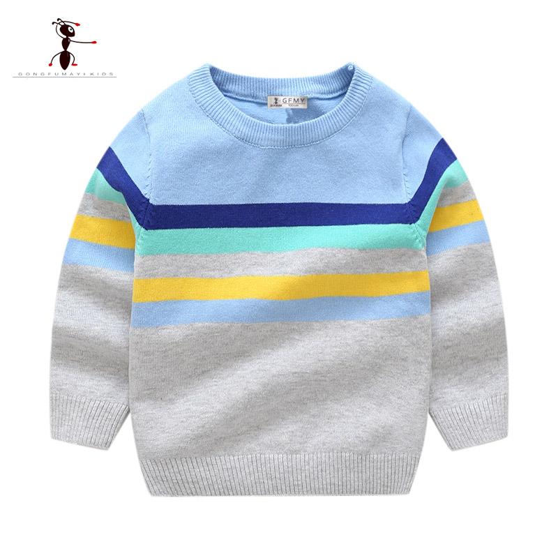 Kung Fu Ant Autumn Winter Stripe Boys Sweater Cotton Children's Clothing pullover Sweater O-Neck Patchwork 24M Baby Tops 3521 beige round neck love patchwork sweater