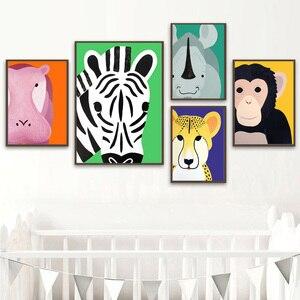 Image 3 - 코끼리 사자 원숭이 기린 하마 얼룩말 북유럽 포스터와 지문 벽 아트 캔버스 회화 벽 그림 아기 어린이 방 장식