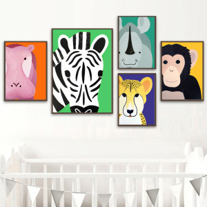 Image 3 - Elephant Lion Monkey Giraffe Hippo Zebra Nordic Posters And Prints Wall Art Canvas Painting Wall Pictures Baby Kids Room Decor