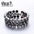 Beier pulseira em aço inoxidável 316l pulseira para homem do motociclista do crânio do punk pulseira de jóias de design exclusivo para o menino bc8-010