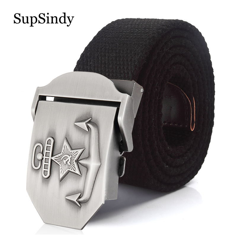 SupSindy Men&Women Canvas Belt 3D Soviet Navy USSR CCCP Metal Buckle Jeans Belt Soldiers Military Army Tactical Belts Male Strap