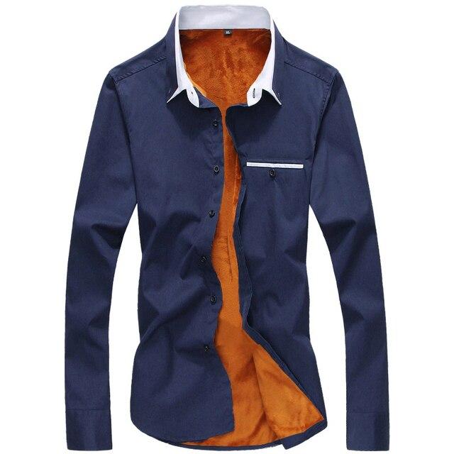 online retailer 471de 55032 US $26.99  Più size4xl velluto di spessore uomo manica lunga polo camicia  di cotone sottile solido di alta qualità camicie da uomo in Più size4xl ...