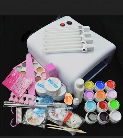 New Pro 36W UV GEL Lamp & 12 Color pure UV Gel &12 colors Glitter PowdersNail Art Tools polish Set Kit  Free Shipping