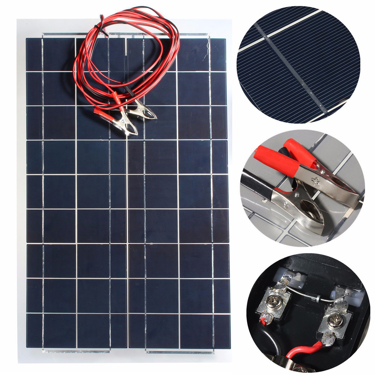 30W 18V Solar Panel PolyCrystalline Solar Cells DIY Battery Charger With Alligator Clip Wire For Car RV Boat Camping Energy