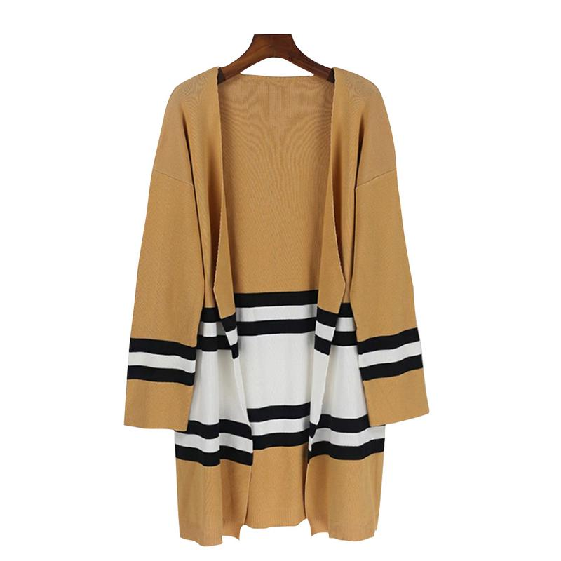 2018 New Women Spring Autumn Loose Sweater Long Sleeve Knitted Cardigan Outwear Striped Sweater Women Knitted Sweater
