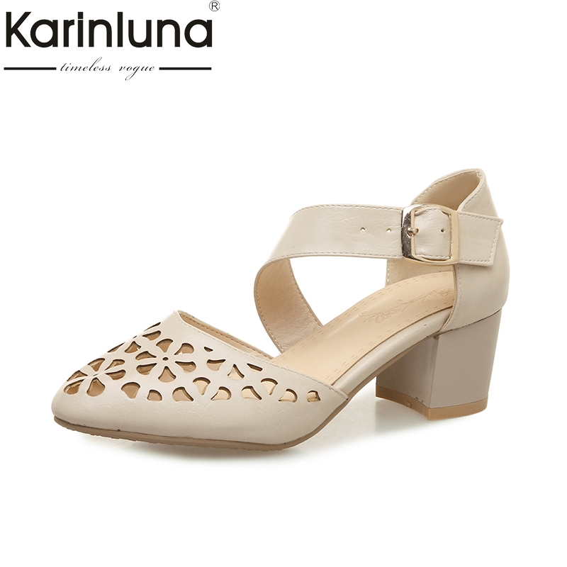 Karinluna New Big Size 32-46 Cut Outs Pointed Toe Spring Summer Shoes Women Sandals Buckle Strap Square High Heels Woman Shoe new spring autumn ankle strap women shoes big size 32 46 fashion pointed toe buckle strap thick heel high heels zapatos mujer