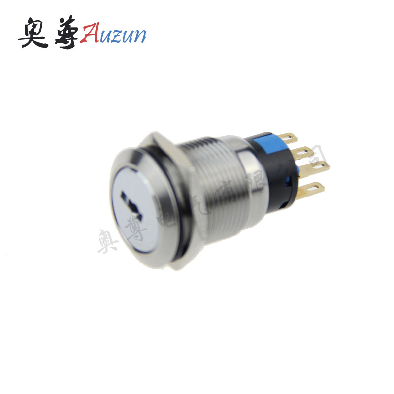 19 mm metal knob switch 3 file normally open 2 long closed with the key switch waterproof rust stainless steel button ...