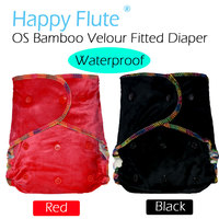 HappyFlute Waterproof OS Bamboo Velour Fitted Cloth Diaper AI2