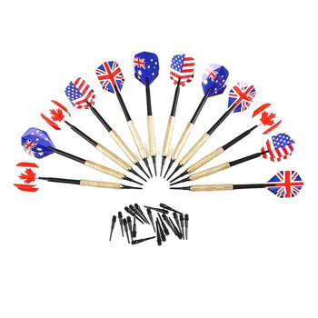12pcs Brass Darts National Flag Flights w/ Metal Needle 1
