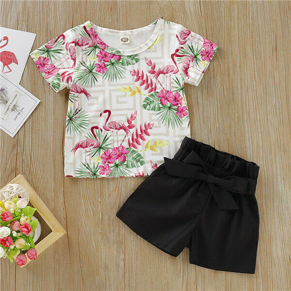 USA Newborn Kids Baby Girls Flamingo Tops T-Shirt Pants Shorts Black Outfits Set