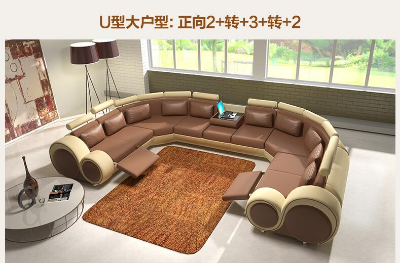 u shape cowhide leather top grain genuine leather corner sofa modern fashion creative. Black Bedroom Furniture Sets. Home Design Ideas