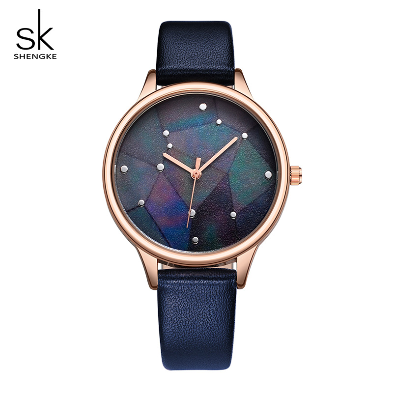 Shengke Creative Quartz Watch Women Fashion Leather Watches Ladies Rose Gold Dial Female Wrist Watch 2018 SK Reloj Mujer #9766
