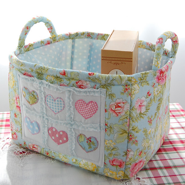 Square Quilting Fabric Storage Basket Heart Blue Rustic Storage Baskets  Newspaper And Magazine Basket Storage Basket