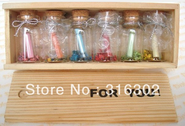 Message in a Bottle For You Wooden Box w/ 6 Glass & 6 Mini Letter Papers Gift Wedding Decoration LOVE 30pcs in one postcard owe you a song romantic love christmas postcards greeting birthday message cards 10 2x14 2cm