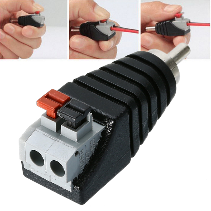 Mayitr 1pc Speaker RCA Connector Universal Wire A/V Cable To Audio Male RCA Adapter Jack Press Plug Cabe For Audio Cable