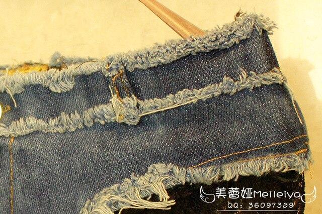 Lace Low Rise High Cut Mini Denim Jeans