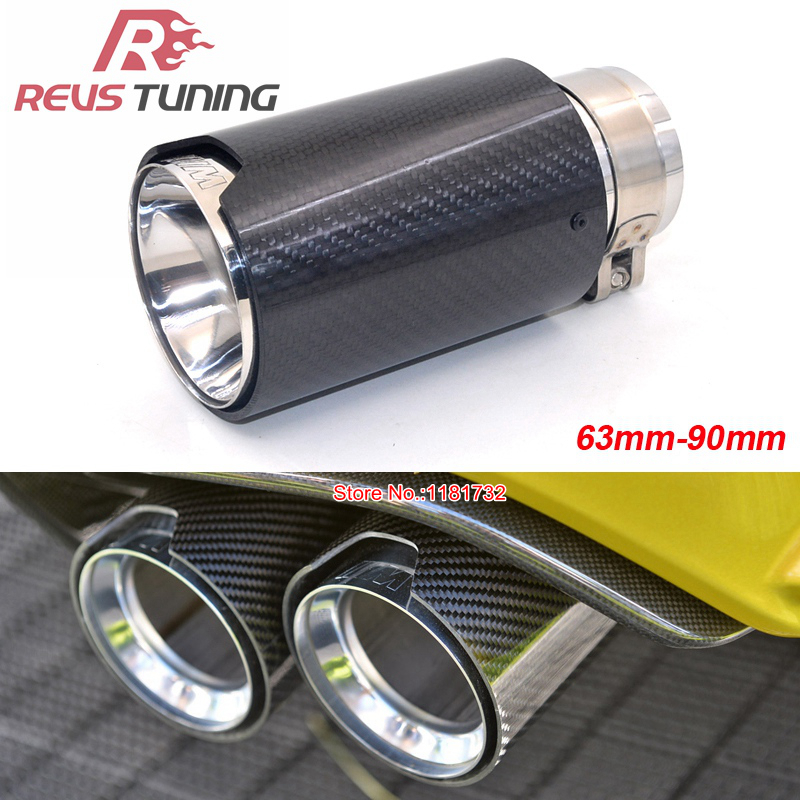 63mm Inlet Car Racing Style Carbon Fiber Muffler Exhaust End Tip Exhaust Silencer Pipe Tip For BMW-in Mufflers from Automobiles & Motorcycles    1