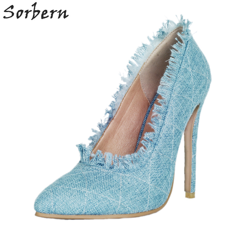 Sorbern Pale Blue Denim Women Pump High Heels Pointed Toe Slip On Shoes Ladies Stilettos Dress Shoes Sapato Feminino 2018 sorbern sexy pointy toe women pump high heels stilettos slip on ol shoes pumps women shoes big size 34 47 ladies shoes heels