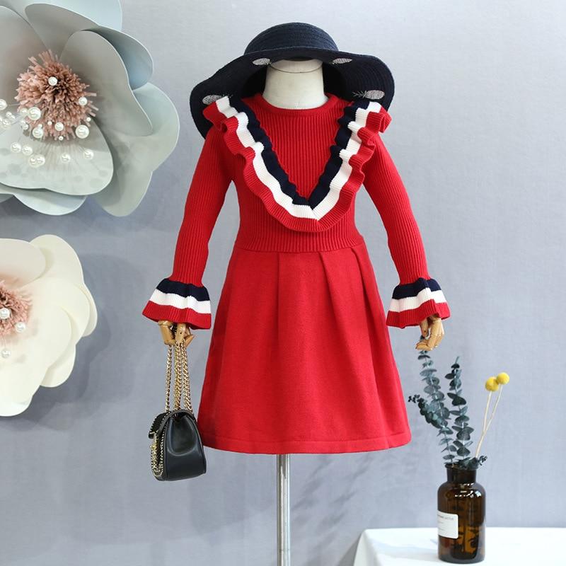 Boutique vêtements pour enfants automne école collège vent robe de princesse pull en tricot 2018 automne nouvelles filles à manches longues robe