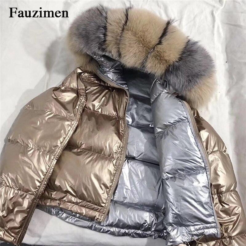 Vrouwen Winter Jas Down Jas Real Fox Bontkraag Parka Bovenkleding Dikke Warme Winter-in Eenvoudige Jassen van Dames Kleding op  Groep 1