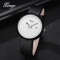 2018 Xinge Top Brand New Men Watch Luxury Leather White Dial Military Clock Male Simple Sport