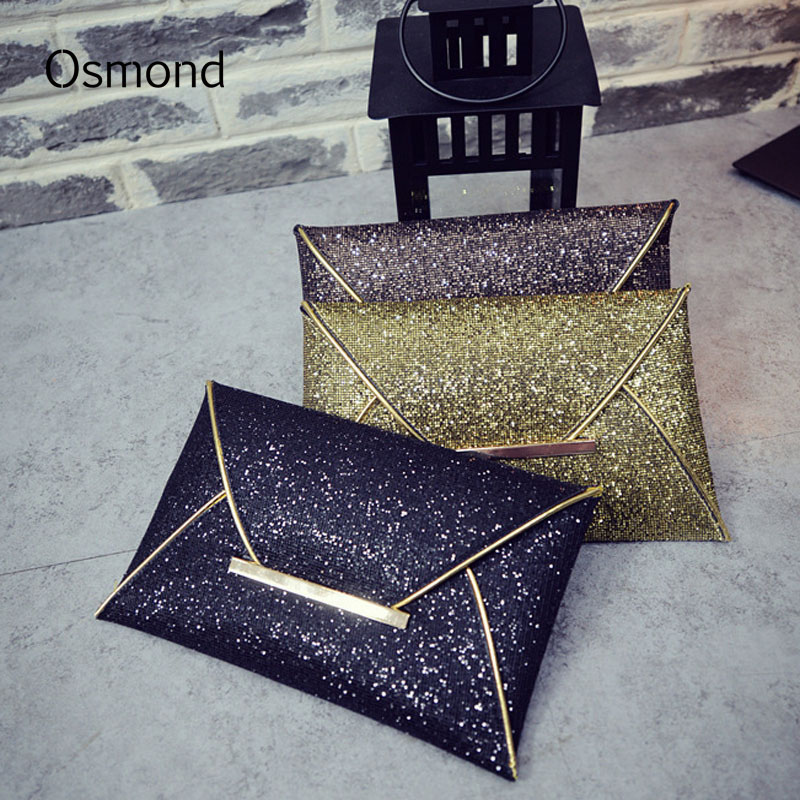 Osmond Kvinder Aftenpose Pose Sequins Envelope Clutch Black Håndtaske Party Banket Glitter Bag Clutches Guld Punge Bolsas Mujer