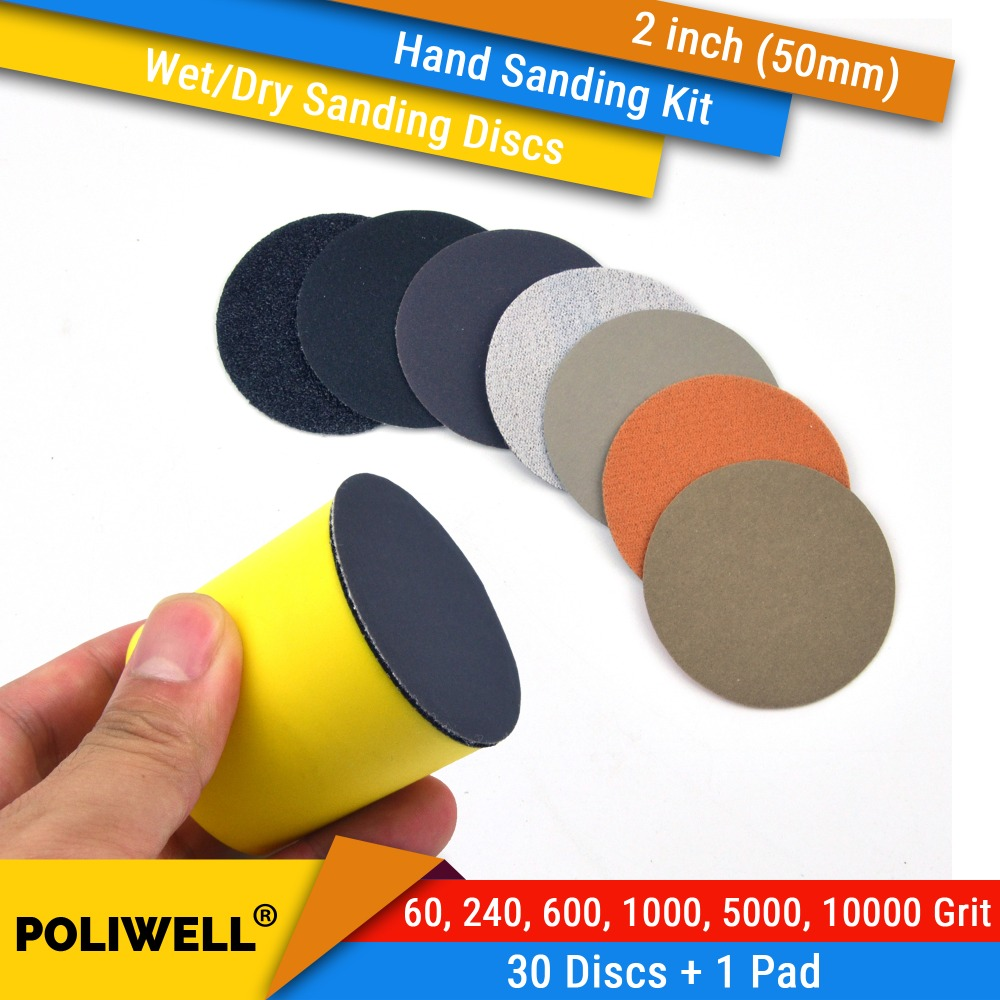 2 Inch (50mm) 60/240/600/1000/5000/10000 Grits Waterproof Hook&Loop Sanding Discs+ Hand Sanding Pad Kit for Wet/Dry Polishing2 Inch (50mm) 60/240/600/1000/5000/10000 Grits Waterproof Hook&Loop Sanding Discs+ Hand Sanding Pad Kit for Wet/Dry Polishing