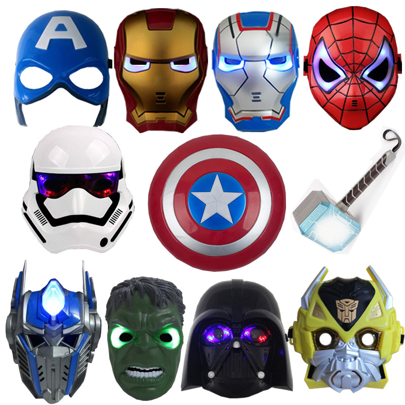 LED Mask Super Hero Hulk/American Captain/Iron Man/Spiderman/Batman Crazy Rubber Party Halloween Costume Mask Children &Adult