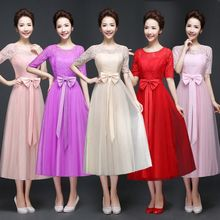 New bow Ribbon Slim bridesmaids sisters dress. Sexy Chiffon Princess dress. Sweet party Gown Banquet Elegant Formal Dresses