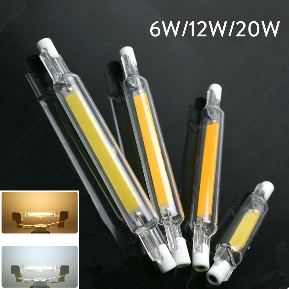 R7S LED COB Bulb J78 J118 Dimmable Glass Tube Light 78mm 118mm Equal 60W 120W Halogen Lamps AC 110V 220V 230V