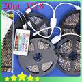 New DIY Waterproof 20M 3528 RGB LED Strip  + 24Key IR Controller + 12.5A Adapter 3528  RGB LED Strip Light Set Free Shipping