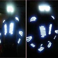 Nowe Mody Ds Kostium Mężczyźni Okulary Led Light Up Kurtki Rękawic Odzież Sprzętu Led Garnitur