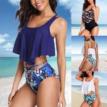 2020 חדש סקסי נשים ביקיני סט Mujer לפרוע פרחוני מודפס בגד ים לדחוף למעלה גבוהה מותן ביקיני Biquinis ברזילאי בגדי ים קיץ